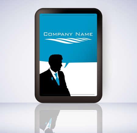 actuality: Uomo d'affari tablet computer schermo con il logo vettoriale