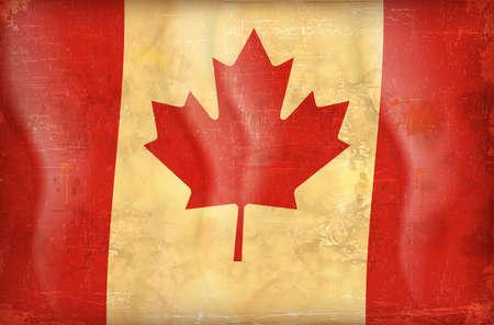 antiqued: Old grunge flag of canada background vector