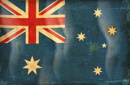 flag australia: Old grunge flag of australia background vector