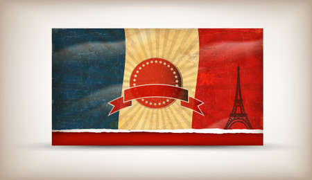 Old grunge flag of france background vector Vector