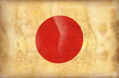 japan flag: Old grunge flag of japan background vector