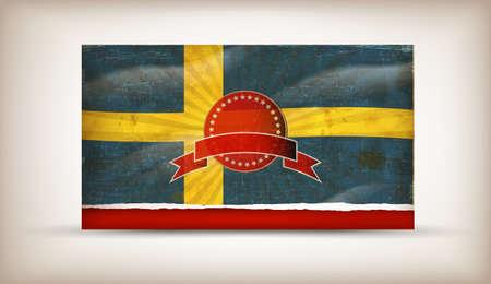 Old grunge flag of sweden  background vector Vector