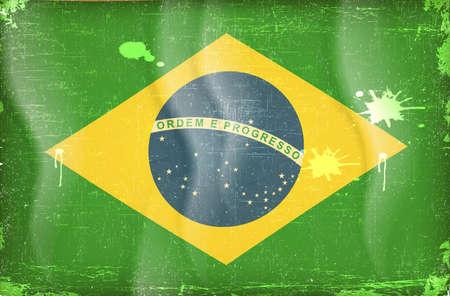 brasil: Old grunge flag of brasil background vector Illustration