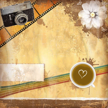 Vintage background with old paper and coffee and camera
