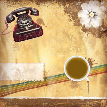 ancient telephone: Vintage background with old paper and coffee and camera