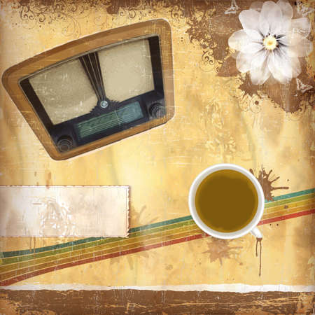 sentimental: Vintage background with old paper and coffee and radio Illustration