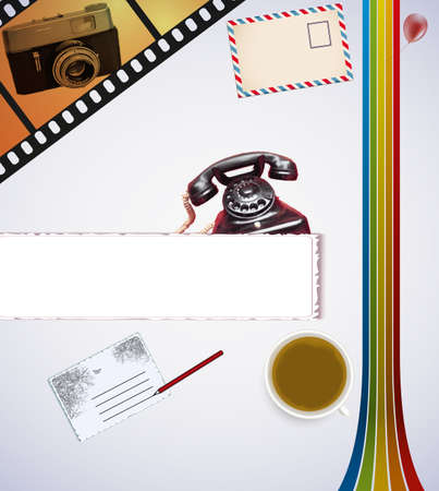 Retro background with desk and coffee and camera Vector