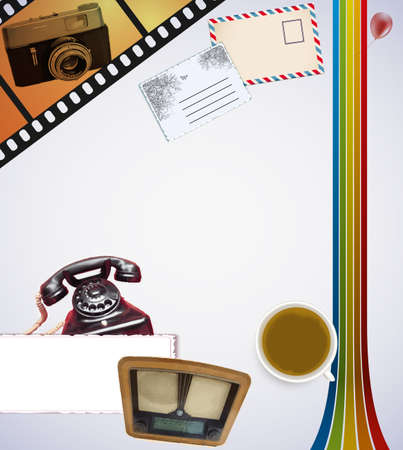 photo paper: Retro background with desk and coffee and camera