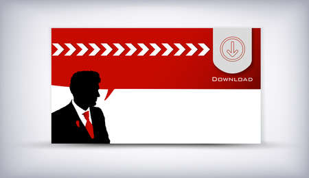 transmit: Card of business man speaking background vector