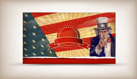 patriotic usa background with uncle sam vector Editoriali