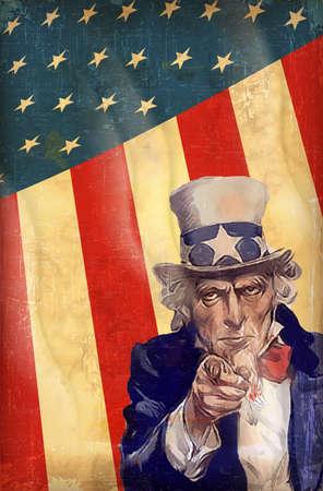 아메리: 엉클 샘 벡터와 애국적인 미국 배경