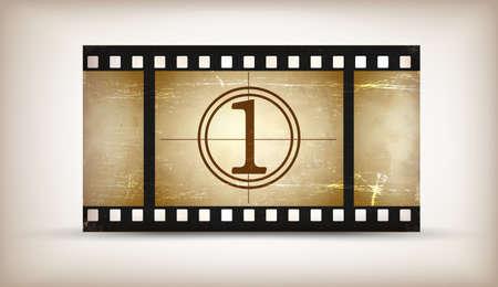 rollo pelicula: Grunge película cuenta regresiva tarjeta con lugar para el texto