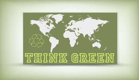 think green: Piensa Verde - logo de reciclaje ecol�gico Vectores