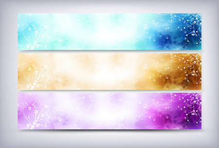header label: Set of abstract colorful web headers with flowers