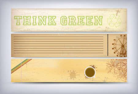 think green: Piensa Verde - logo de reciclaje ecol�gico - de vectores de fondo