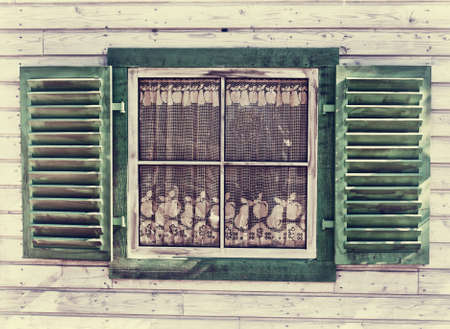 Window of a old wooden house background photo