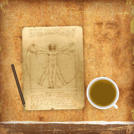 An illustration of a Vitruvian man in a square and a circle