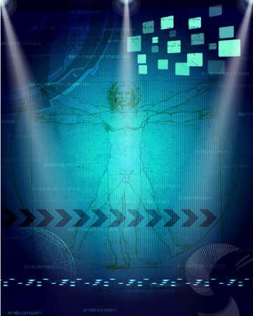 The Vitruvian Man -leonardo da vinci - mystic backround