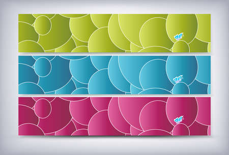 Colorful Banner with circle and butterfly EPS Vector