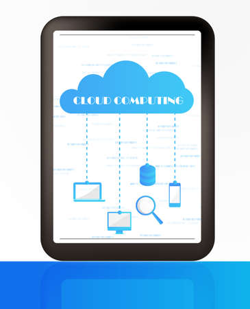 Cloud computing concept- Client computers communicating with resources located in the cloud Stock Vector - 13414673