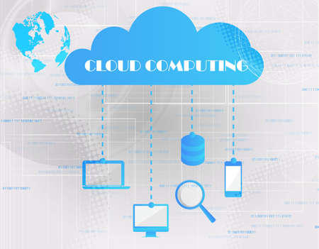 Cloud computing concept- Client computers communicating with resources located in the cloud Vector