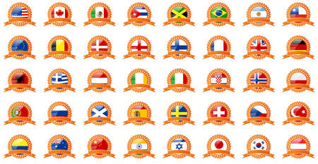 drapeau portugal: Ensemble de drapeaux du monde - dans les rubans rétro regarder Illustration