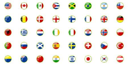 drapeau angleterre: Ensemble de drapeaux du monde - dans les rubans r�tro regarder Illustration