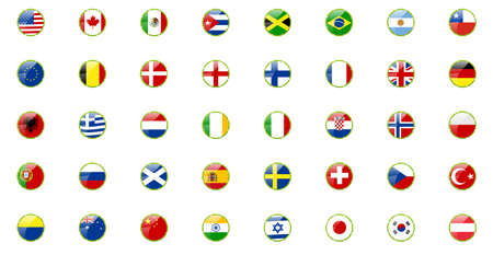 Set of world flags - in retro ribbons look Vettoriali