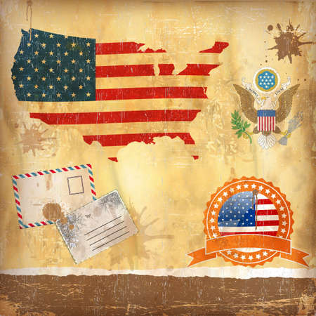 USA set. Detailed country shape with region borders Vector