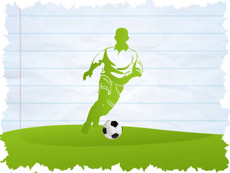 Soccer Player with ball on green background Vector