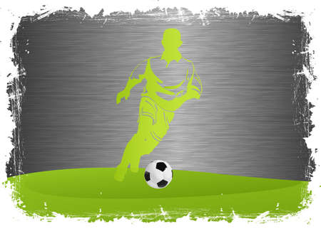 Soccer Player with ball on steel background Vector