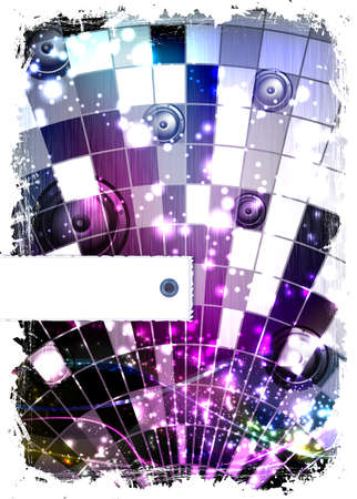 mirrored: disco ball - grunge abstract background with place for text