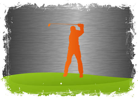 golf field: Golf player - on gray steel background