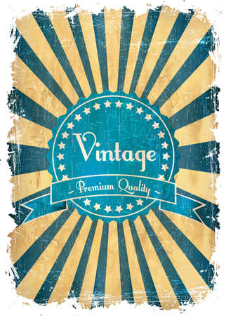 Old vector round retro vintage label on sunrays background Vector