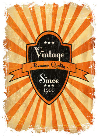 round retro vintage label on sunrays background Vector