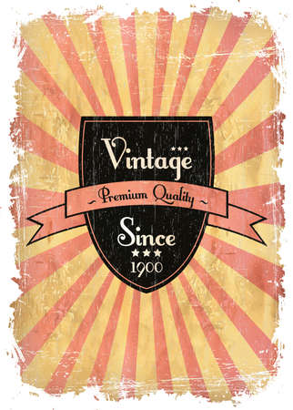 round retro vintage label on sunrays background Stock Vector - 13546139