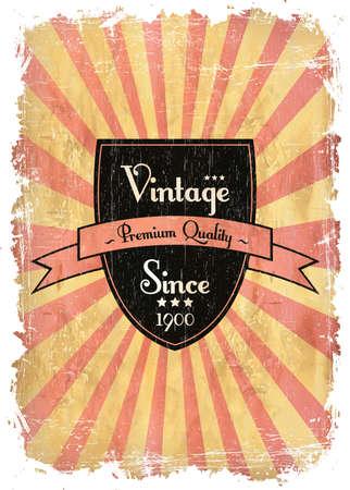round retro vintage label on sunrays background Stock Vector - 13546139