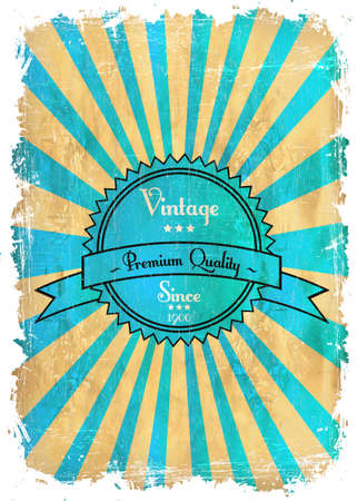 Old vector round retro vintage label on sunrays background Stock Vector - 13546119