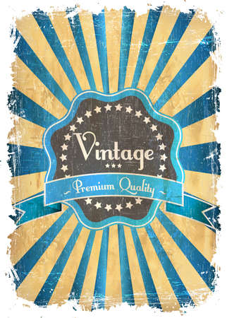 contemporary style: round retro vintage label on sunrays background Illustration