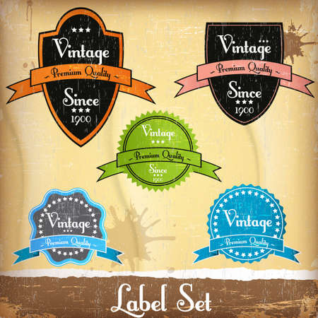 round retro vintage label set Illustration