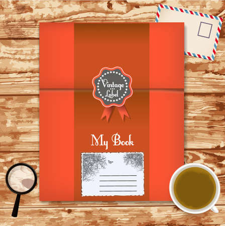 antiqued: book with coffee cup on wooden background Illustration