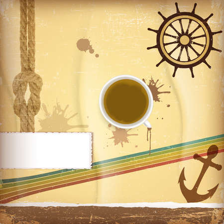 brig: Nautical design elements - with cup of coffee Illustration