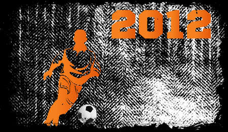 Soccer Player with ball on grunge background Vector