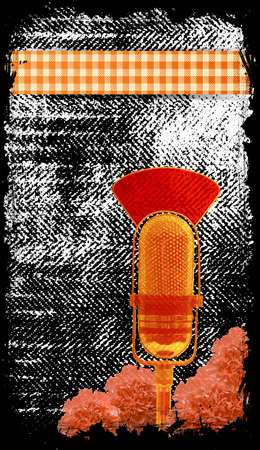 old fashioned microphone - with place for text Stock Vector - 13656732