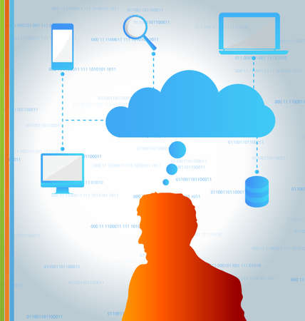 synchronizing: Cloud computing concept- Client computers communicating with resources located in the cloud