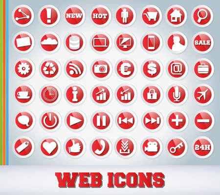 Icons Set for Web Applications - Red Edition Vector
