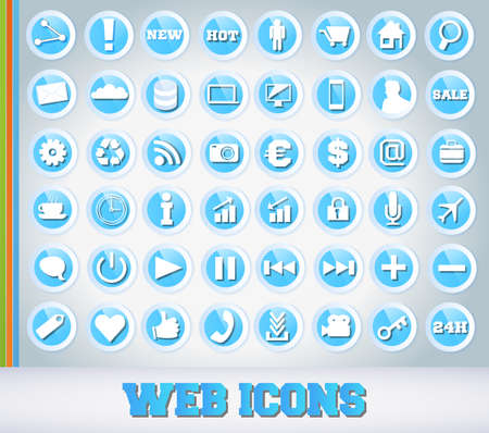 Icons Set for Web Applications - Blue Edition Vector