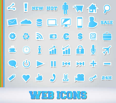 Icons Set for Web Applications - Blue Edition Stock Vector - 13753960
