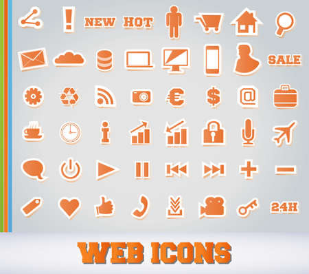 Icons Set for Web Applications - Orange Edition Vector