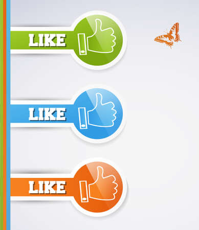Like icons. Thumb up signs for blogs and websites Vector